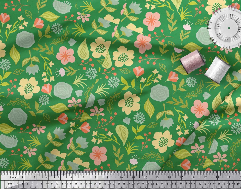 Soimoi-Green-Cotton-Poplin-Fabric-Leaf-Floral-Print-Sewing-Fabric-3rQ thumbnail 3