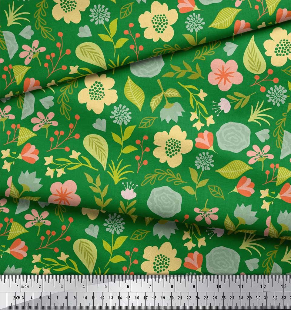 Soimoi-Green-Cotton-Poplin-Fabric-Leaf-Floral-Print-Sewing-Fabric-3rQ thumbnail 4