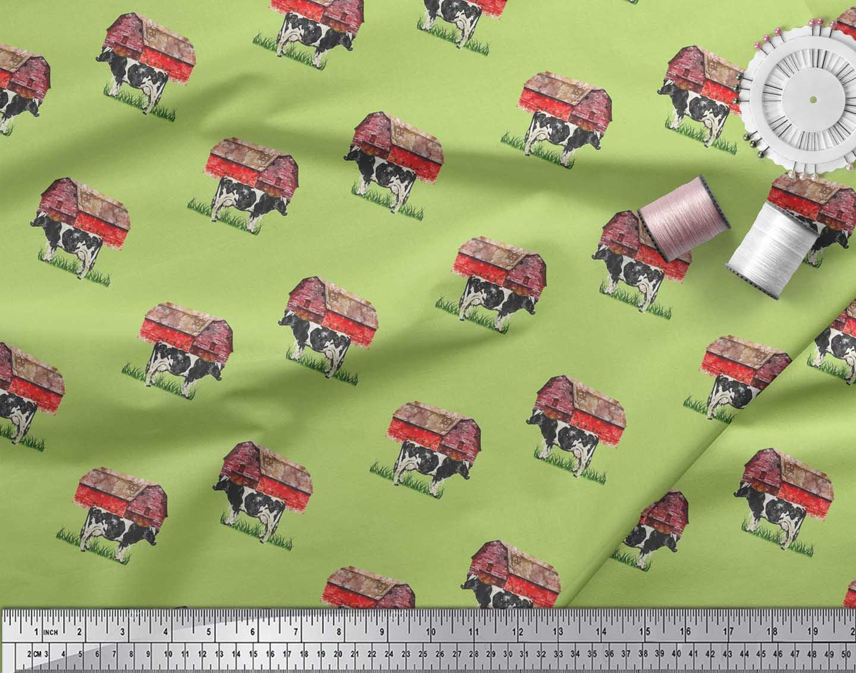 Soimoi-Green-Cotton-Poplin-Fabric-Barn-amp-Cow-Farm-Print-Sewing-Fabric-3uI thumbnail 3