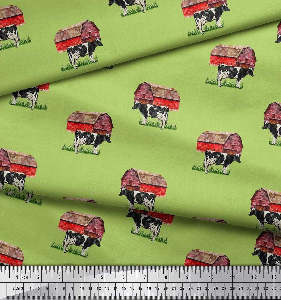 Soimoi-Green-Cotton-Poplin-Fabric-Barn-amp-Cow-Farm-Print-Sewing-Fabric-3uI thumbnail 4