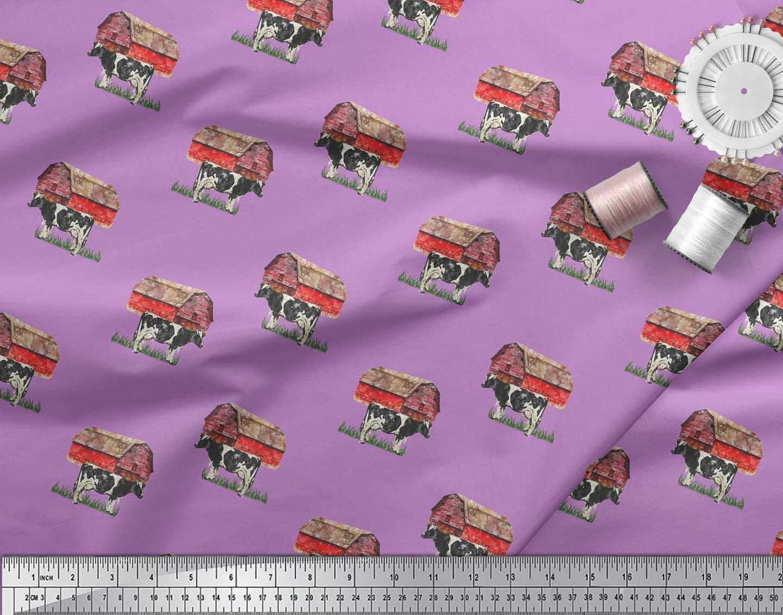 Soimoi-Purple-Cotton-Poplin-Fabric-Barn-amp-Cow-Farm-Fabric-Prints-o1L thumbnail 4