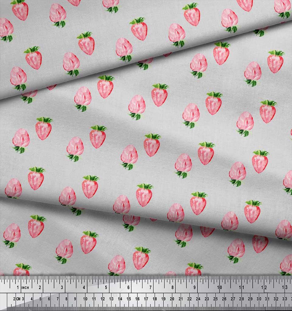 Soimoi-Gray-Cotton-Poplin-Fabric-Strawberry-Fruit-Print-Fabric-by-FZ5 thumbnail 3