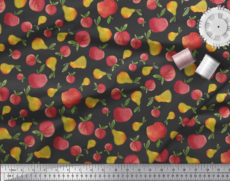 Soimoi-Black-Cotton-Poplin-Fabric-Mix-Fruit-Print-Fabric-by-metre-knA thumbnail 3
