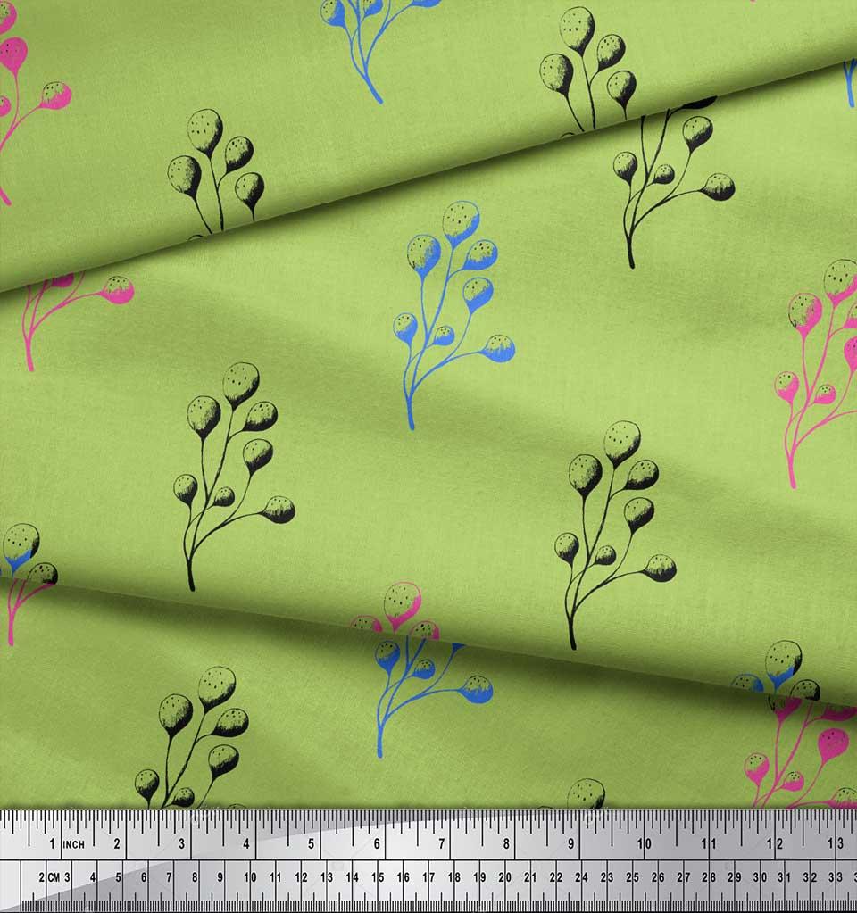Soimoi-Green-Cotton-Poplin-Fabric-Berries-Fruit-Fabric-Prints-By-sfY thumbnail 3