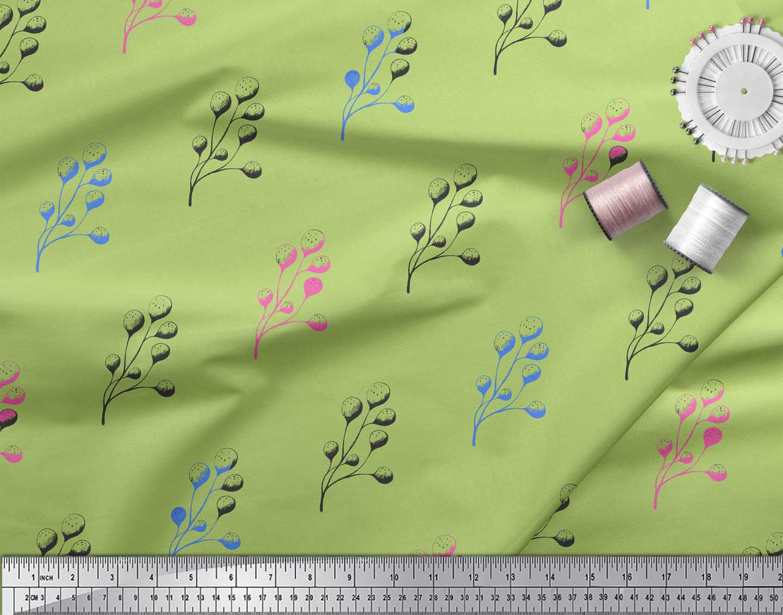Soimoi-Green-Cotton-Poplin-Fabric-Berries-Fruit-Fabric-Prints-By-sfY thumbnail 4