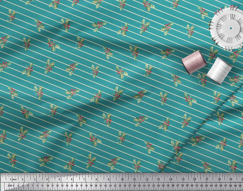 Soimoi-Green-Cotton-Poplin-Fabric-Stripe-amp-Red-Berries-Fruits-Print-rev thumbnail 4