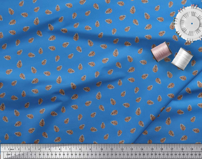 Soimoi-Blue-Cotton-Poplin-Fabric-Pine-Cone-Fruits-Printed-Craft-fLG thumbnail 3
