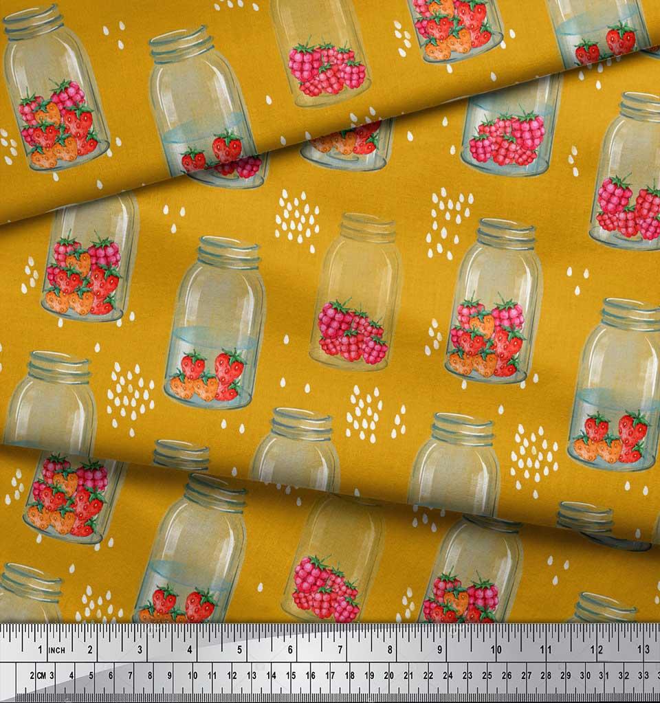 Soimoi-Gold-Cotton-Poplin-Fabric-Bottle-Vase-amp-Strawberry-Fruits-xM8 thumbnail 3