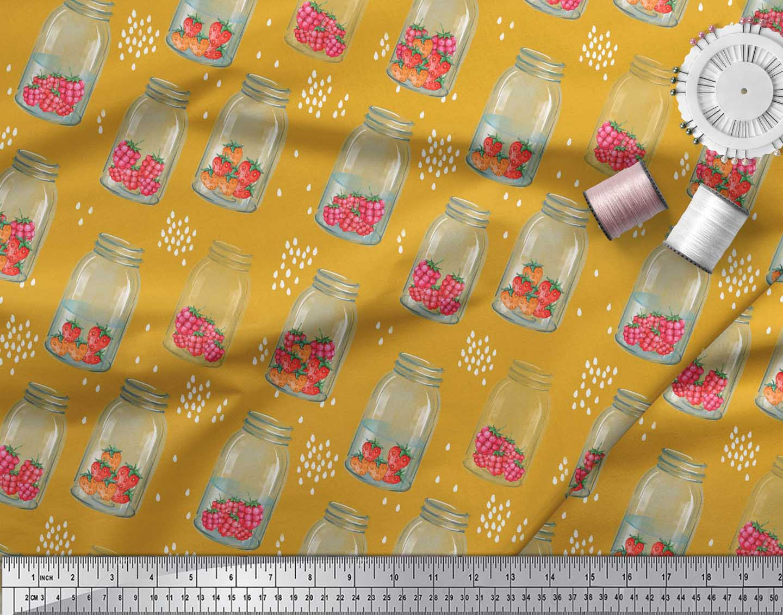 Soimoi-Gold-Cotton-Poplin-Fabric-Bottle-Vase-amp-Strawberry-Fruits-xM8 thumbnail 4