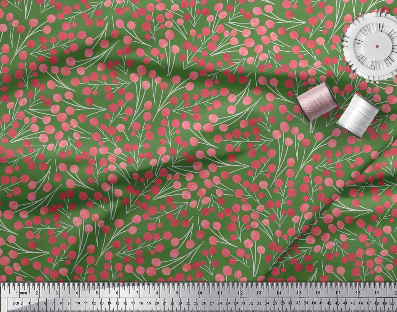 Soimoi-Green-Cotton-Poplin-Fabric-Red-Berries-Fruits-Decor-Fabric-yKt thumbnail 3