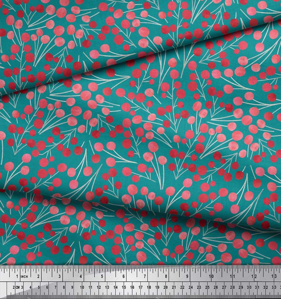 Soimoi-Green-Cotton-Poplin-Fabric-Red-Berries-Fruits-Printed-Fabric-8Jv thumbnail 3
