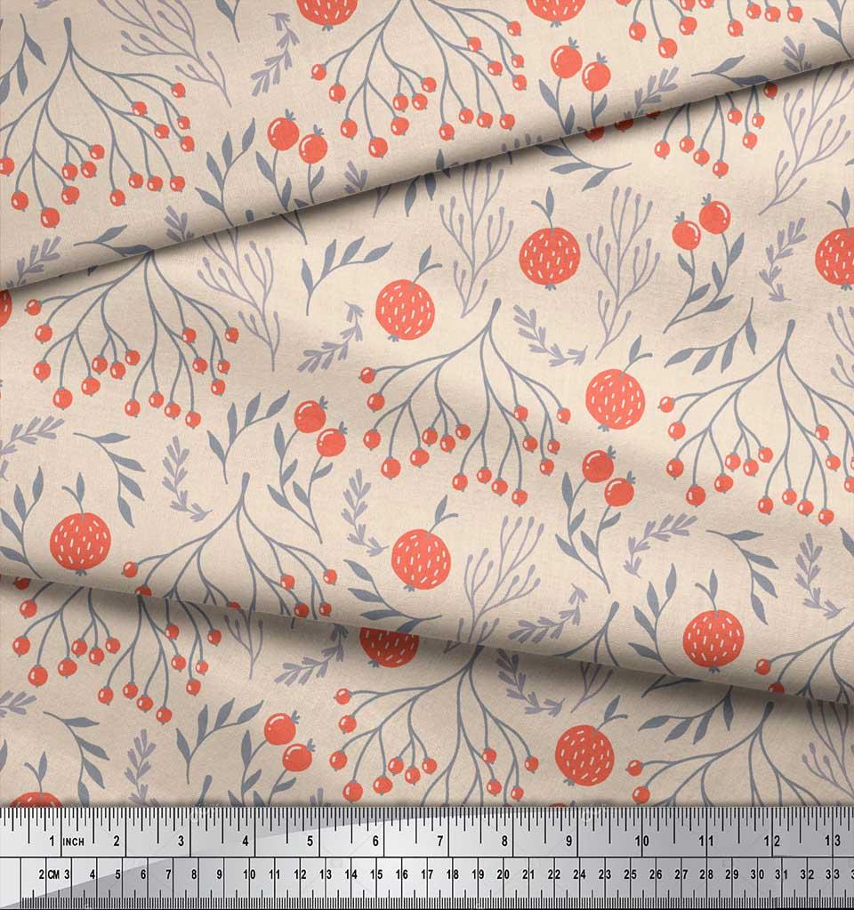 Soimoi-White-Cotton-Poplin-Fabric-Branch-amp-Red-Berries-Fruits-Print-MD2 thumbnail 3