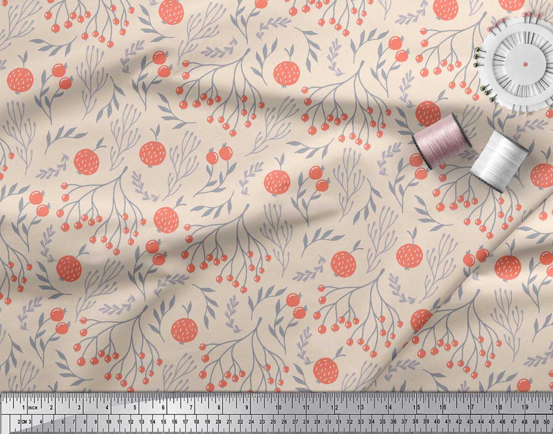 Soimoi-White-Cotton-Poplin-Fabric-Branch-amp-Red-Berries-Fruits-Print-MD2 thumbnail 4