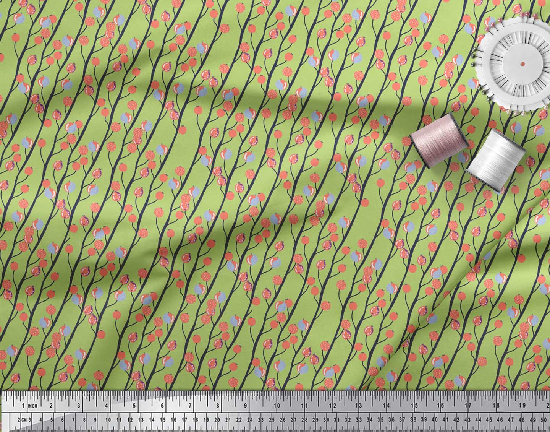 Soimoi-Green-Cotton-Poplin-Fabric-Branch-amp-Red-Berries-Fruits-Printed-Owa thumbnail 4