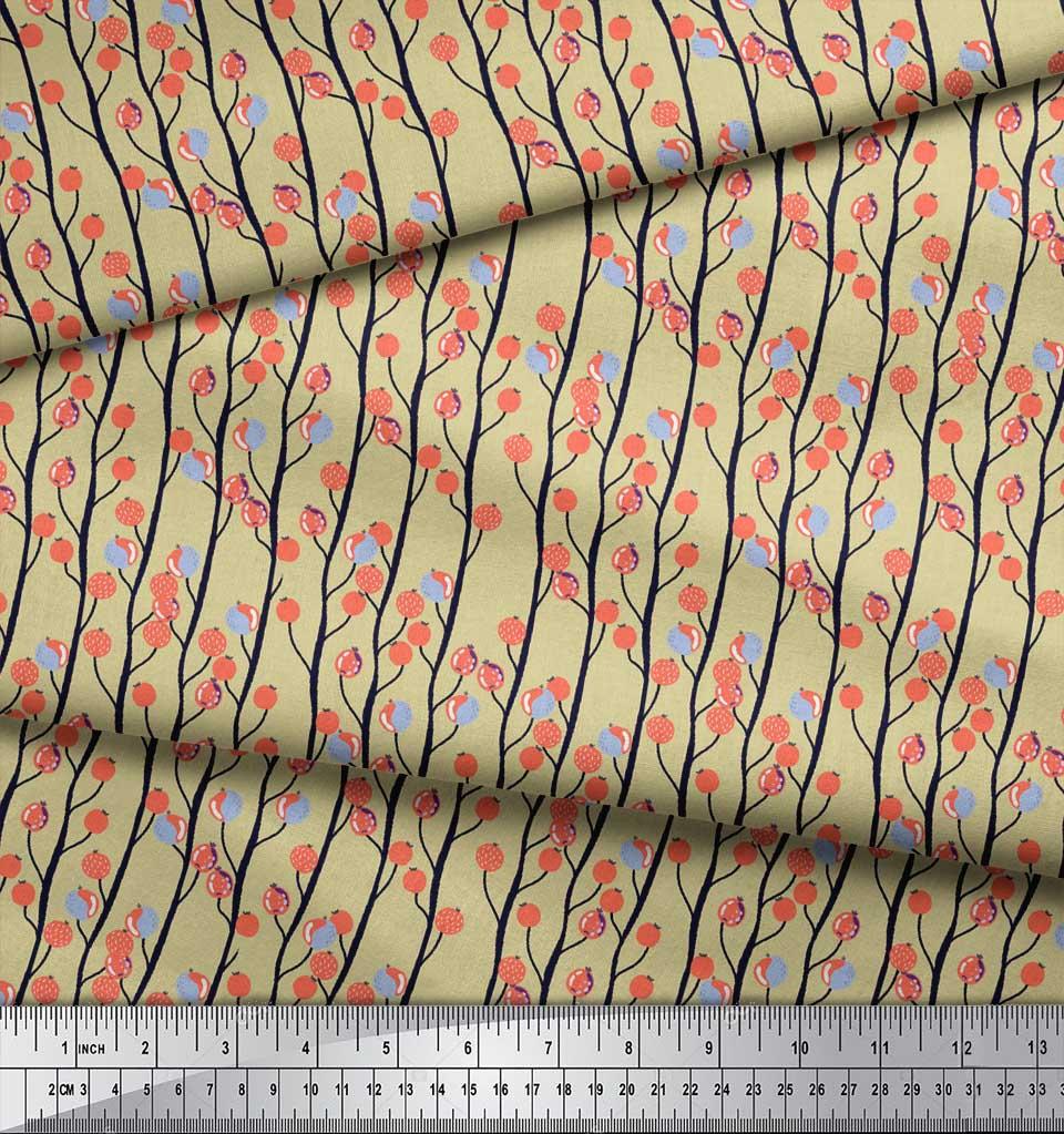 Soimoi-Beige-Cotton-Poplin-Fabric-Branch-amp-Red-Berries-Fruits-Print-mGs thumbnail 4