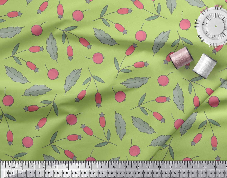 Soimoi-Green-Cotton-Poplin-Fabric-Red-Berries-Fruits-Printed-Fabric-vzB thumbnail 3
