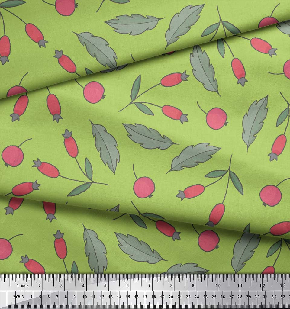 Soimoi-Green-Cotton-Poplin-Fabric-Red-Berries-Fruits-Printed-Fabric-vzB thumbnail 4