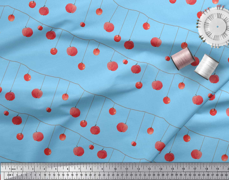 Soimoi-Blue-Cotton-Poplin-Fabric-Cherries-Fruits-Print-Fabric-by-g6P thumbnail 4