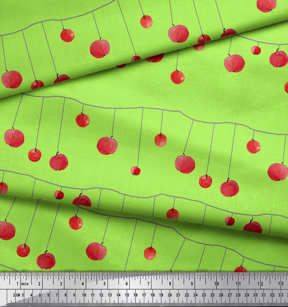 Soimoi-Green-Cotton-Poplin-Fabric-Cherries-Fruits-Print-Fabric-by-S7u thumbnail 3