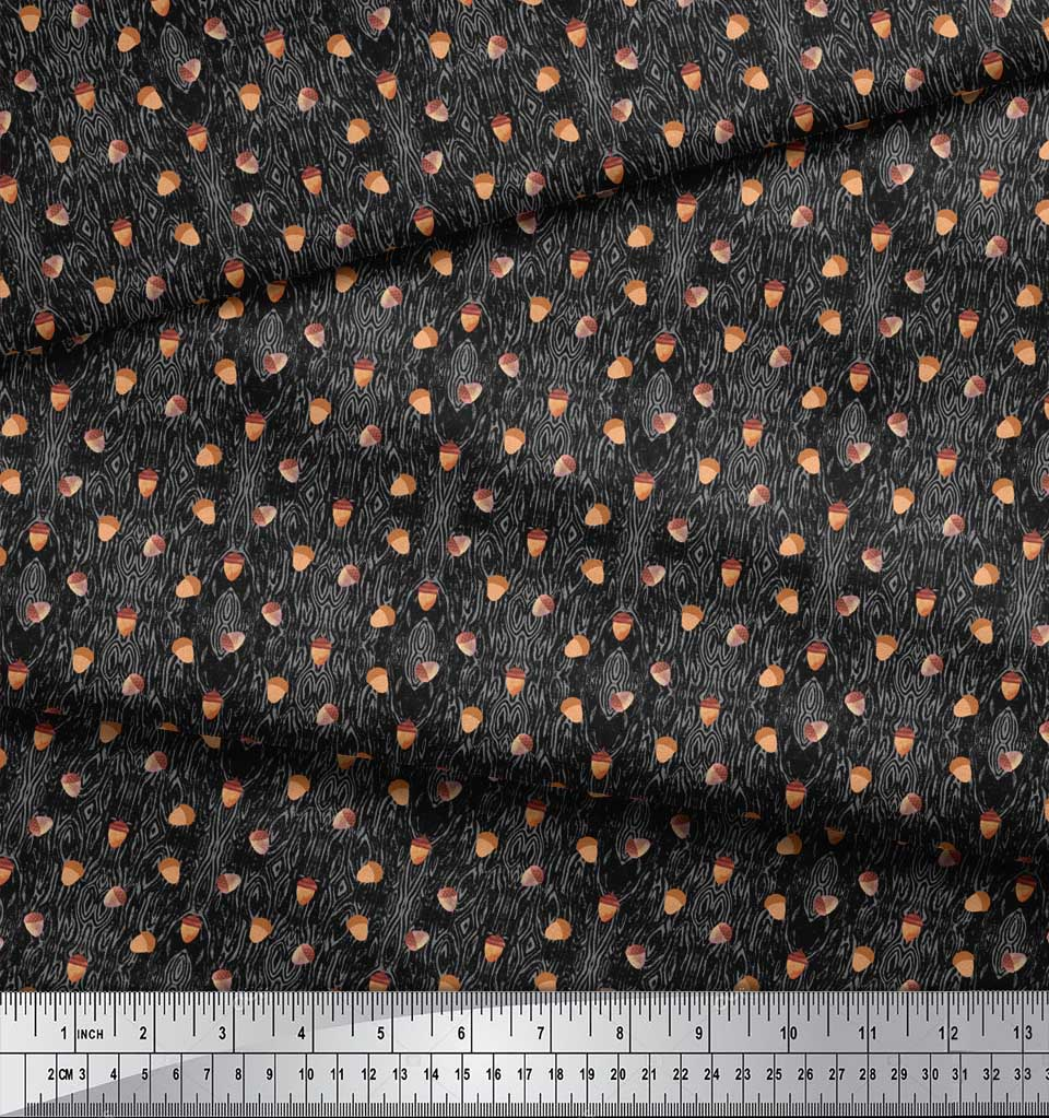 Soimoi-Black-Cotton-Poplin-Fabric-Oaknut-Fruits-Printed-Craft-Fabric-ZVP thumbnail 3