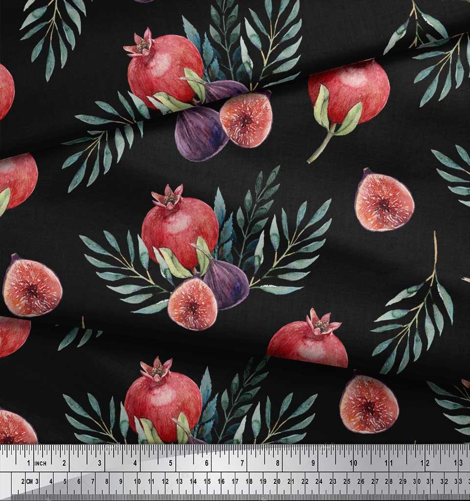 Soimoi-Black-Cotton-Poplin-Fabric-Pomegranate-amp-Fig-Fruits-Print-Wqi thumbnail 3