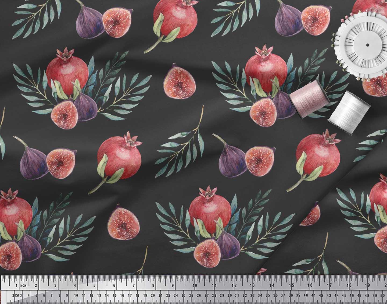 Soimoi-Black-Cotton-Poplin-Fabric-Pomegranate-amp-Fig-Fruits-Print-Wqi thumbnail 4