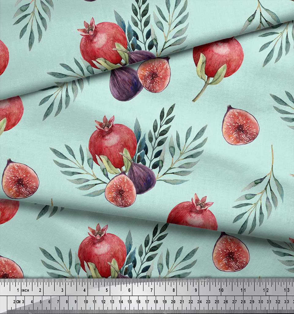 Soimoi-Green-Cotton-Poplin-Fabric-Pomegranate-amp-Fig-Fruits-Print-IR5 thumbnail 3