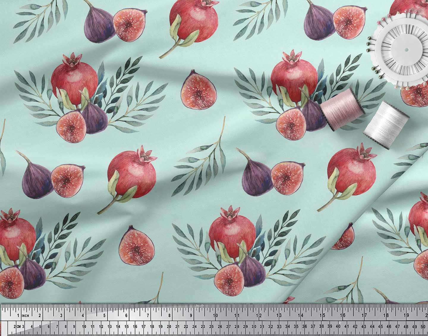 Soimoi-Green-Cotton-Poplin-Fabric-Pomegranate-amp-Fig-Fruits-Print-IR5 thumbnail 4