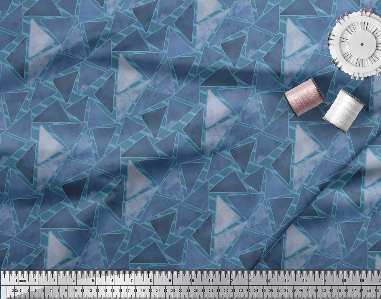 Soimoi-Blue-Cotton-Poplin-Fabric-Facets-Triangle-Geometric-Printed-ha4 thumbnail 3