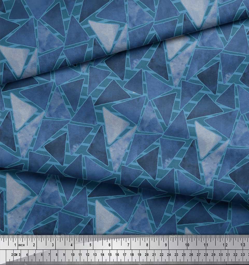 Soimoi-Blue-Cotton-Poplin-Fabric-Facets-Triangle-Geometric-Printed-ha4 thumbnail 4