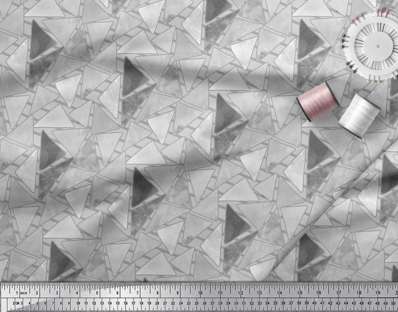 Soimoi-Gray-Cotton-Poplin-Fabric-Facets-Triangle-Geometric-Decor-4WG thumbnail 3