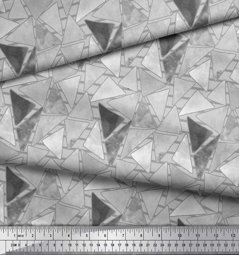 Soimoi-Gray-Cotton-Poplin-Fabric-Facets-Triangle-Geometric-Decor-4WG thumbnail 4