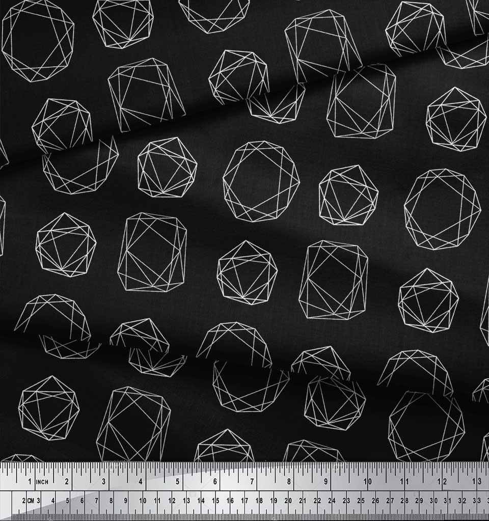 Soimoi-Black-Cotton-Poplin-Fabric-Sacred-Geometric-Print-Fabric-Qti thumbnail 3