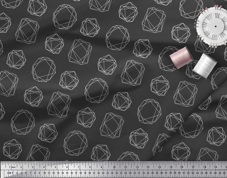 Soimoi-Black-Cotton-Poplin-Fabric-Sacred-Geometric-Print-Fabric-Qti thumbnail 4