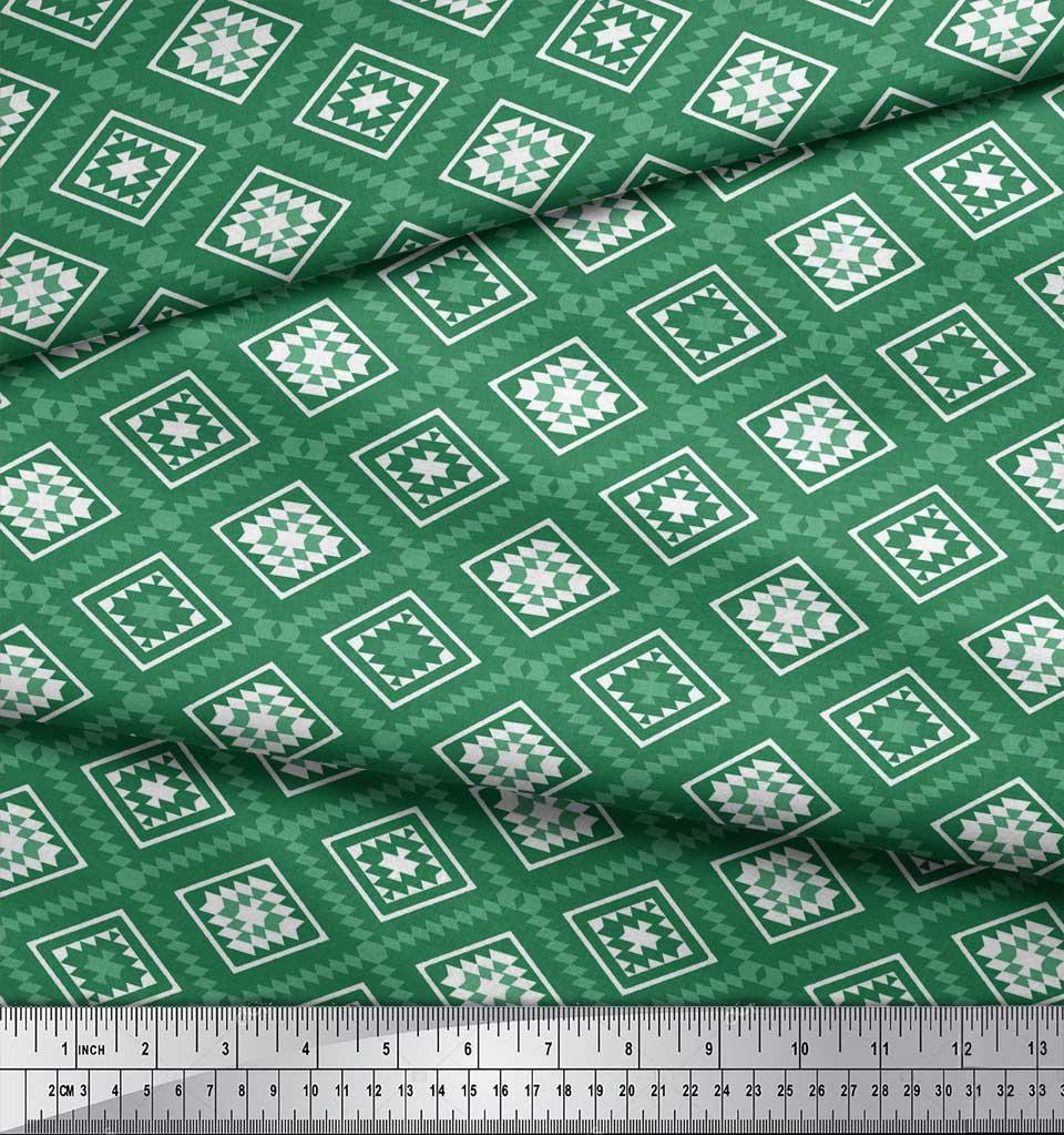 Soimoi-Green-Cotton-Poplin-Fabric-Diamond-amp-Triangle-Geometric-Print-zNR thumbnail 4