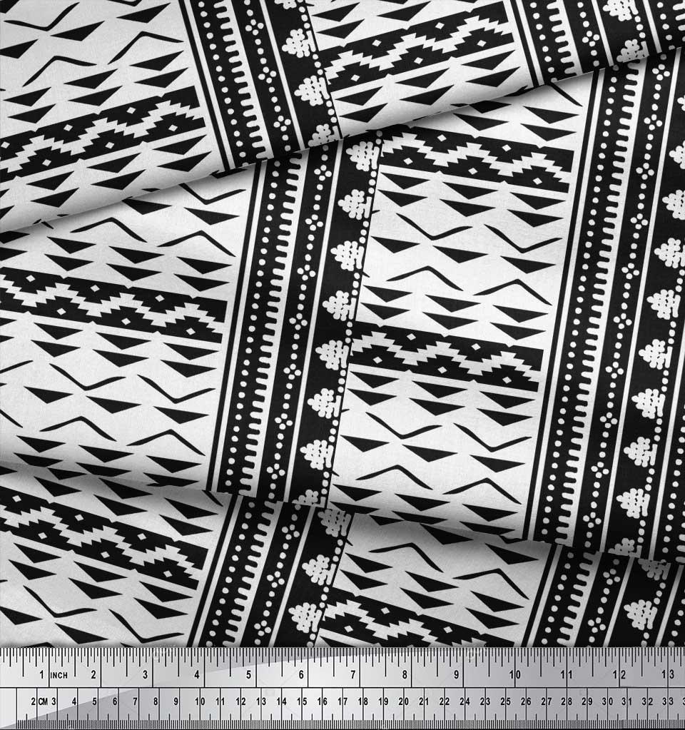 Soimoi-Black-Cotton-Poplin-Fabric-Square-amp-Triangle-Geometric-Print-mxq thumbnail 4