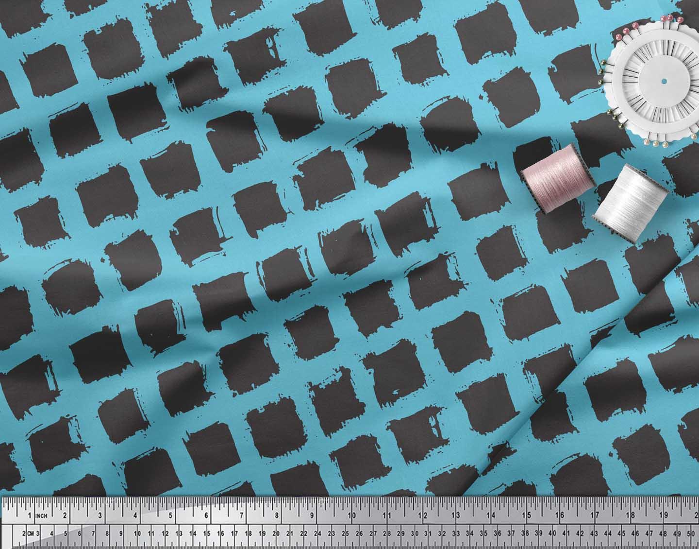 Soimoi-Blue-Cotton-Poplin-Fabric-Diamond-Geometric-Print-Sewing-olk thumbnail 3