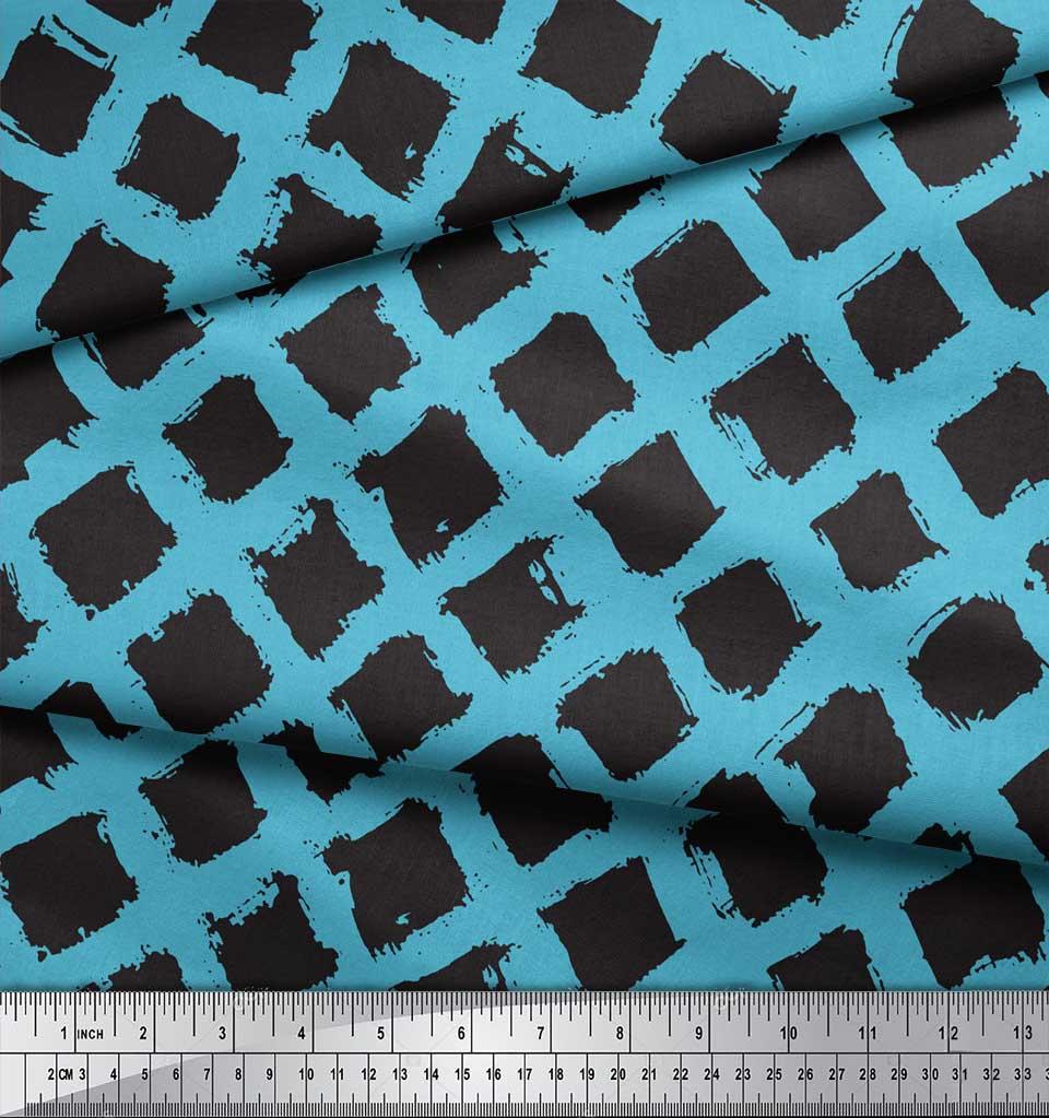 Soimoi-Blue-Cotton-Poplin-Fabric-Diamond-Geometric-Print-Sewing-olk thumbnail 4