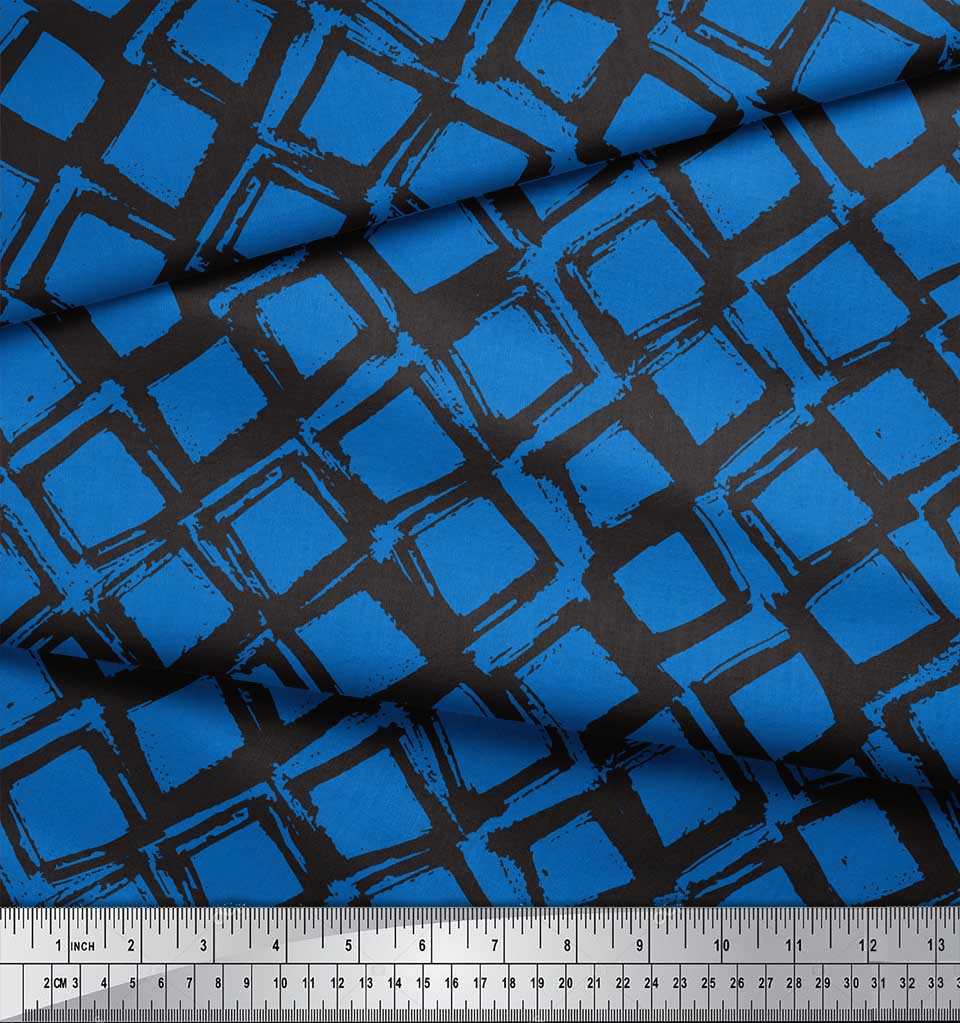 Soimoi-Blue-Cotton-Poplin-Fabric-Diamond-Geometric-Printed-Fabric-jVp thumbnail 3