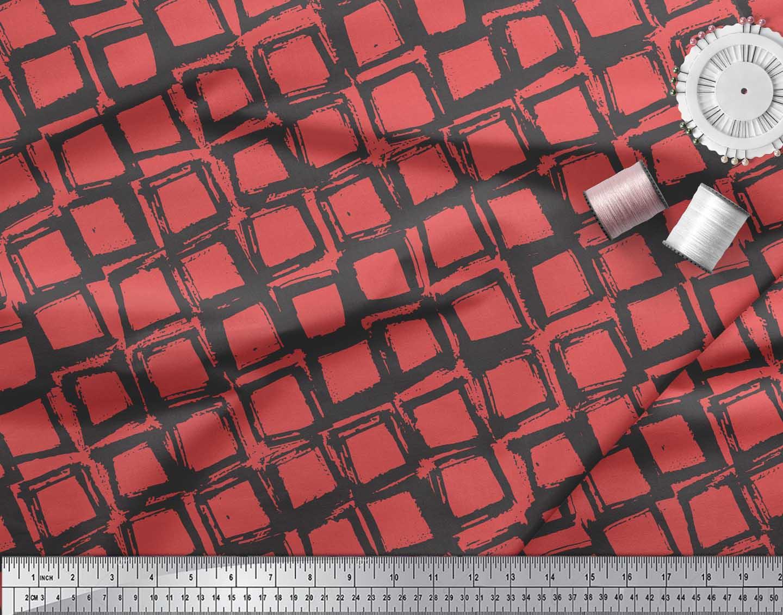 Soimoi-Orange-Cotton-Poplin-Fabric-Diamond-Geometric-Fabric-Prints-7PM thumbnail 3