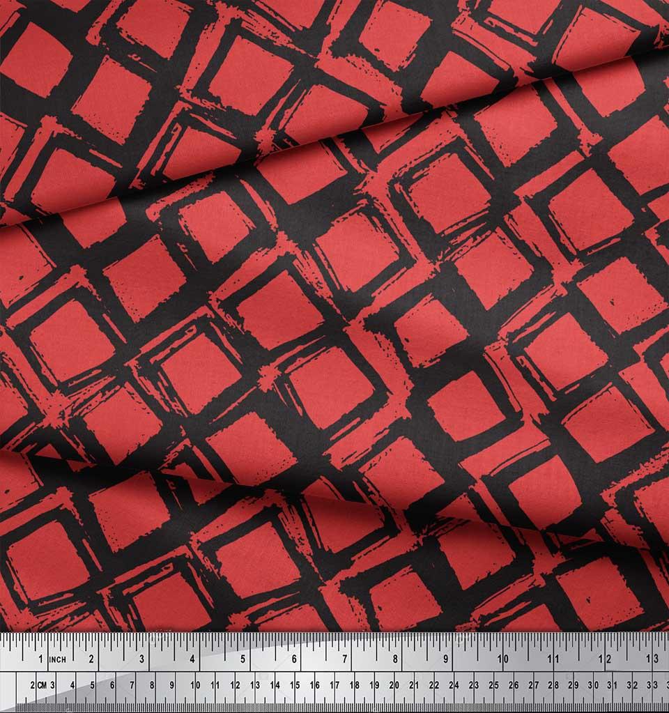 Soimoi-Orange-Cotton-Poplin-Fabric-Diamond-Geometric-Fabric-Prints-7PM thumbnail 4