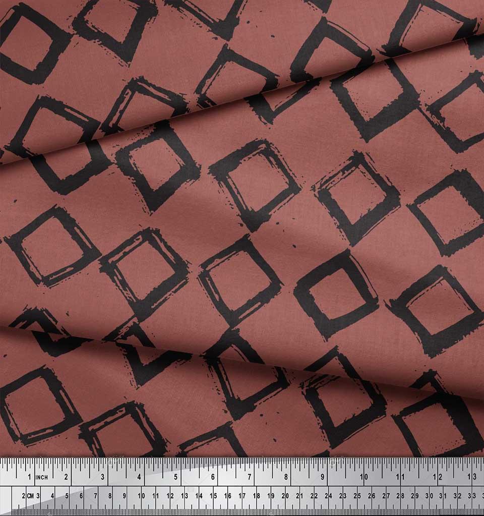 Soimoi-Brown-Cotton-Poplin-Fabric-Diamond-amp-Chevron-Geometric-Print-oKJ thumbnail 3