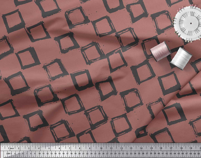 Soimoi-Brown-Cotton-Poplin-Fabric-Diamond-amp-Chevron-Geometric-Print-oKJ thumbnail 4