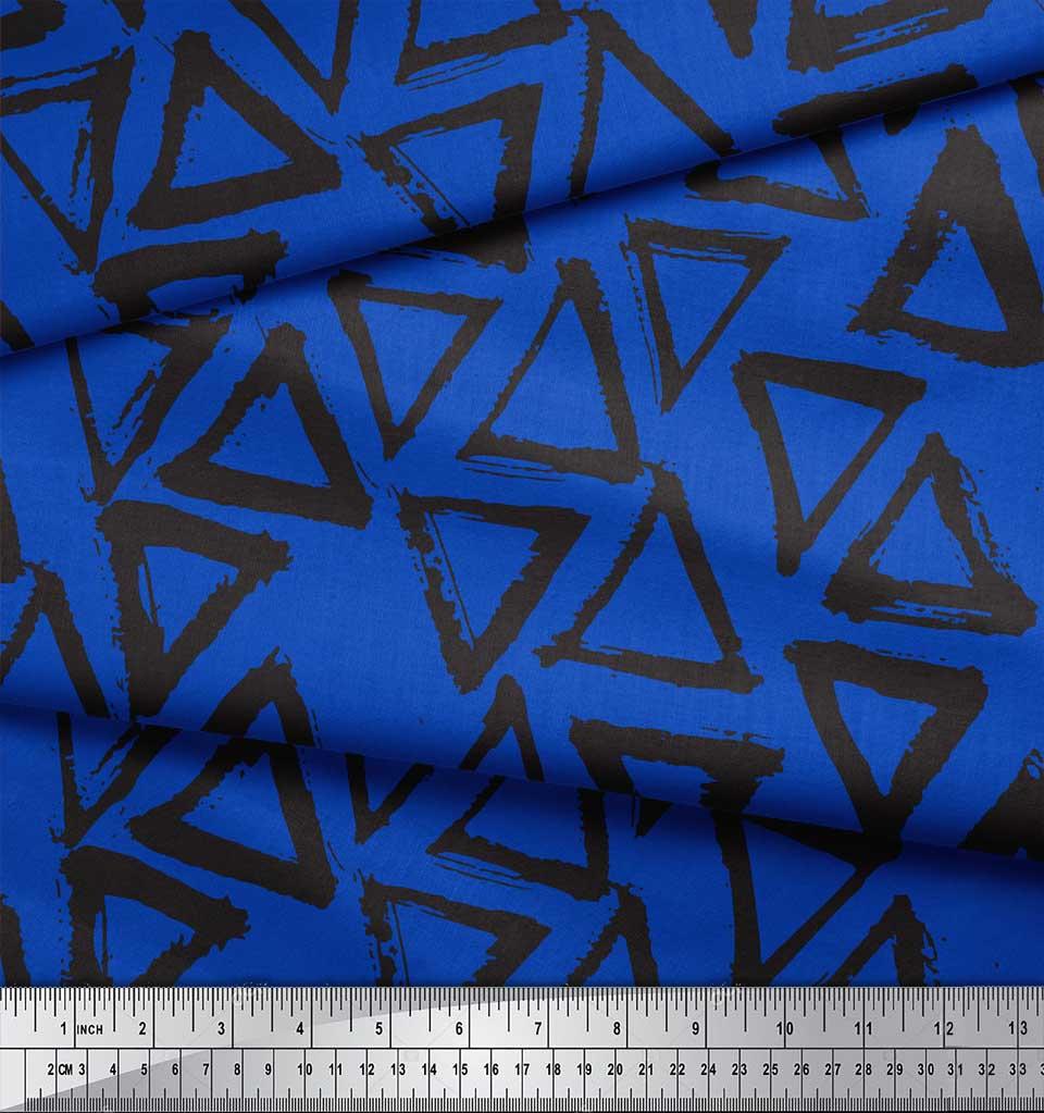 Soimoi-Blue-Cotton-Poplin-Fabric-Triangle-Geometric-Printed-Fabric-JyX thumbnail 3