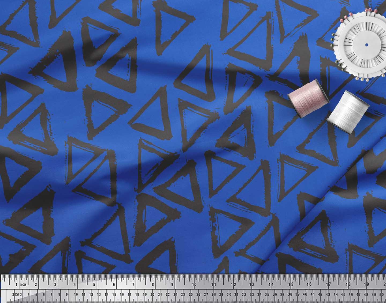 Soimoi-Blue-Cotton-Poplin-Fabric-Triangle-Geometric-Printed-Fabric-JyX thumbnail 4