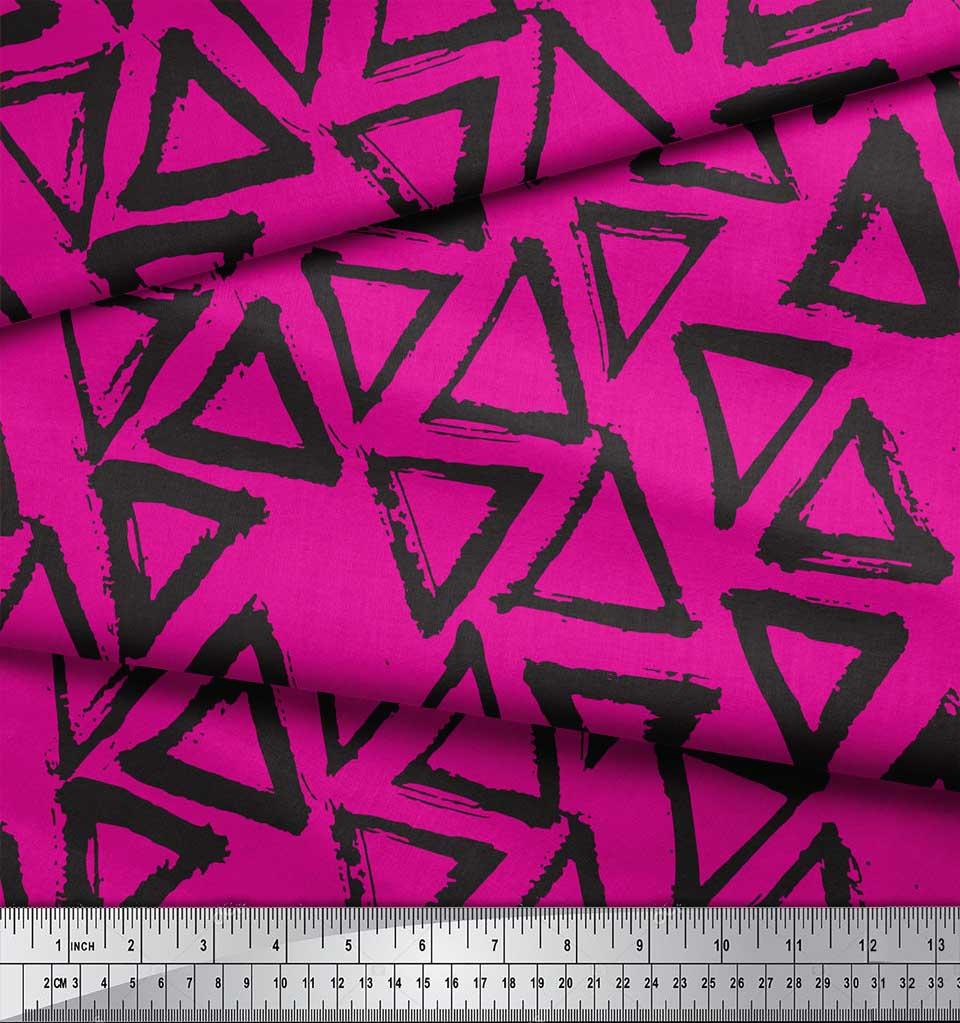 Soimoi-Pink-Cotton-Poplin-Fabric-Triangle-Geometric-Printed-Fabric-bMD thumbnail 3