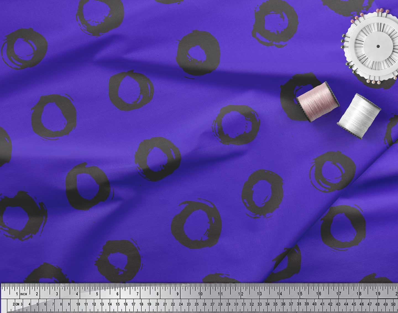 Soimoi-Blue-Cotton-Poplin-Fabric-Line-amp-Circle-Geometric-Decor-Fabric-47N thumbnail 4