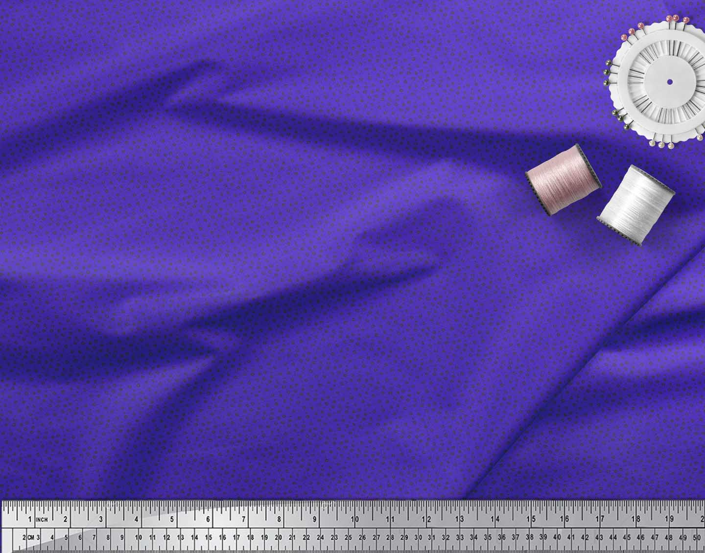 Soimoi-Blue-Cotton-Poplin-Fabric-Line-amp-Circle-Geometric-Print-Sewing-nFc thumbnail 3