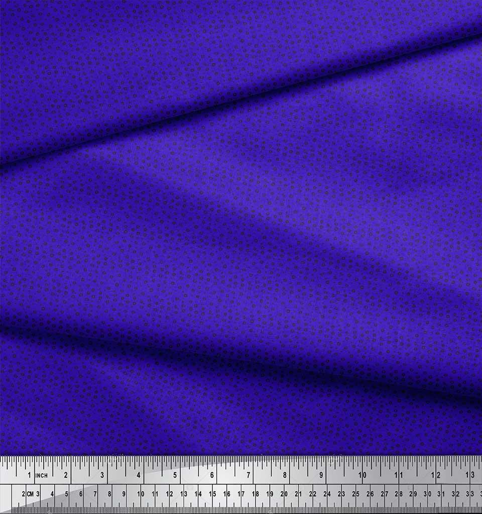Soimoi-Blue-Cotton-Poplin-Fabric-Line-amp-Circle-Geometric-Print-Sewing-nFc thumbnail 4