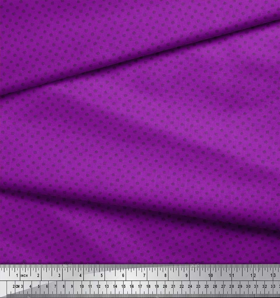 Soimoi-Purple-Cotton-Poplin-Fabric-Spiral-amp-Stripe-Geometric-Printed-xJg thumbnail 4